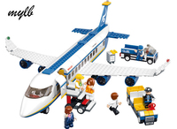 Mylb New Blue Airbus Airplane Model Building Blocks 483pcs Set DIY Educational Bricks Toy Compatible With