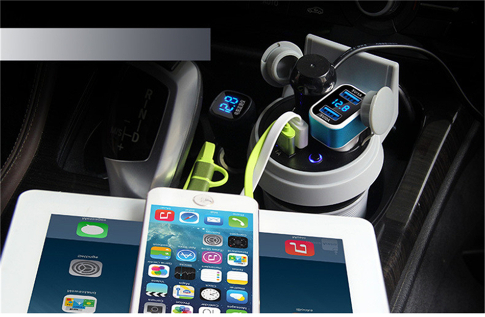 Brand HSC 12-24V 3.1A high speed Output USB Car Charger  Quick Charge Car Cup Holder Car Cigarette Lighter Socket Adapter (3)