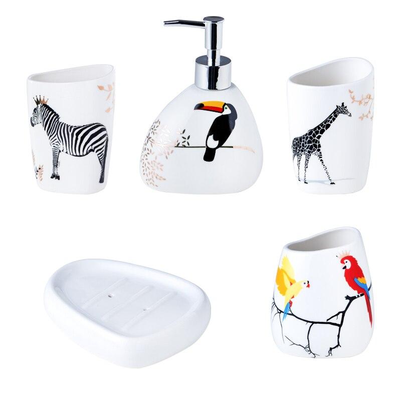 5 pièces/ensemble ensemble de salle de bain en céramique accessoires de bain comprend boîte à savon gargarisme tasse porte-brosse à dents distributeur de savon ensemble de porte-savon