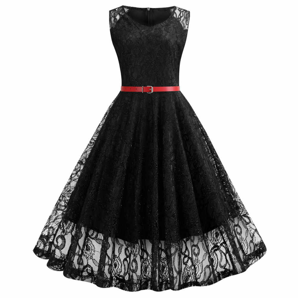 Spitze Tunika Kleid Frauen Ärmellose V ausschnitt Elegante Partei