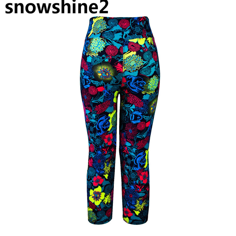 snowshine2 #5001 1PC Ms. high waist riding sports trousers colorful flower printing stretch cut wholesale