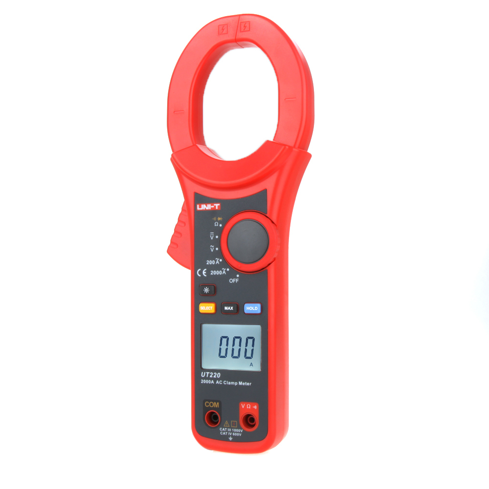 UNI-T UT220 AC 2000A Digital Clamp Meter High Current Ammeter Diode Test Data Hold Full Symbol Display LCD Backlight