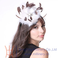 Free Shipping Women Fascinator cocktail Party  Feather Fascinator Hats Hair Accessories Headband Faux Fur Hat