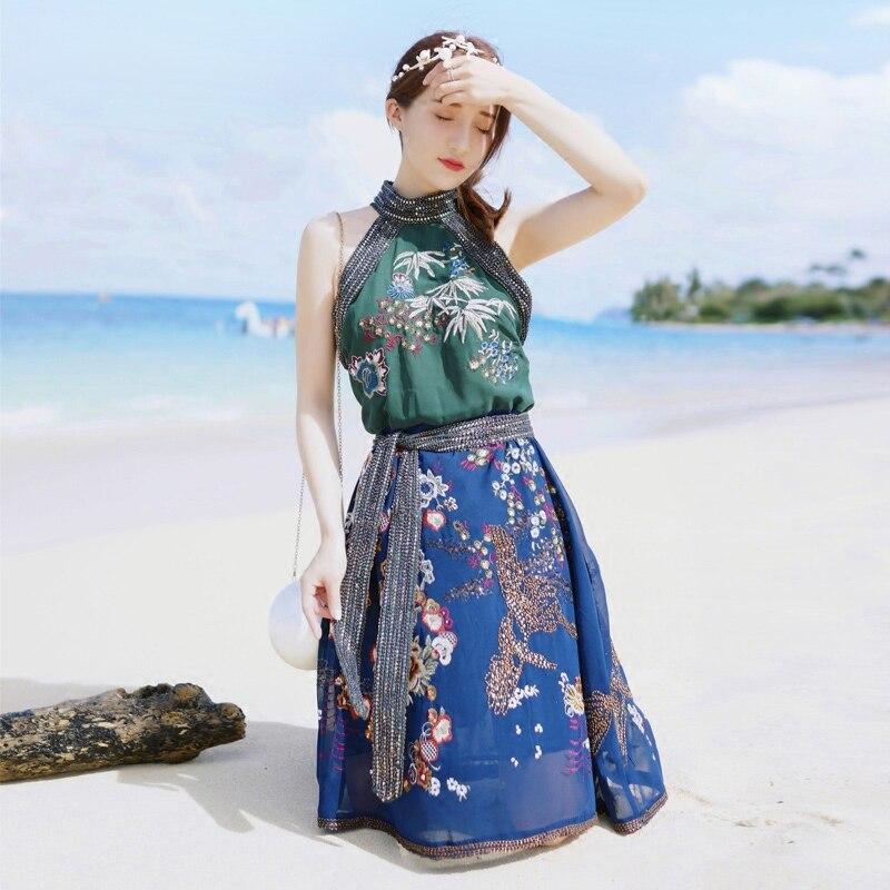 Party Manches Beach Rond Vêtements Tunique Fleur Casual Sans De 2018 Femmes Broderie Summer Main À Rétro Robe Luxe La Col Yxfqa1Z