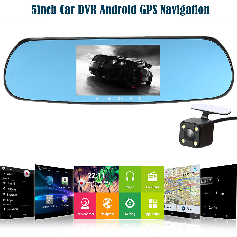 "Здесь можно купить   5"" 1080P Android Smart System Car Rearview Mirror Built in GPS Navigation WIFI Dual Lens Car DVR Camera Recorder with Free Map Автомобили и Мотоциклы"