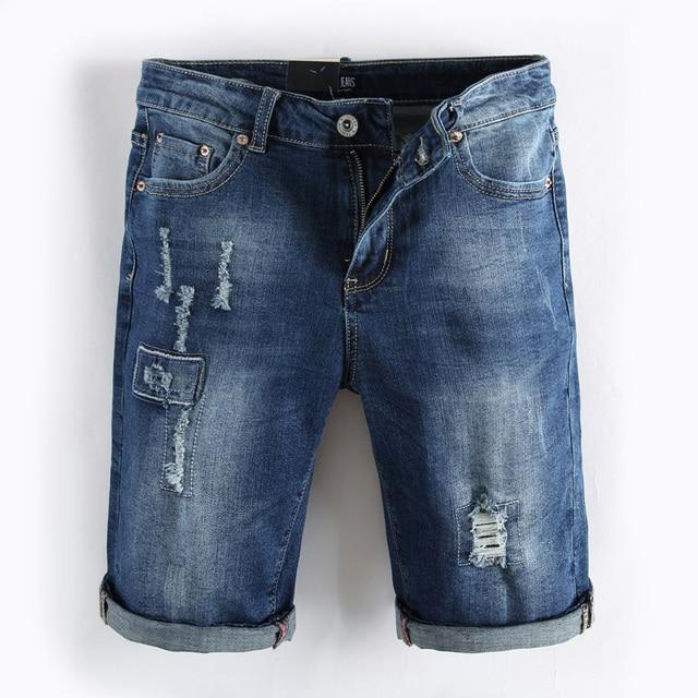 Bermuda Jeans Hellblau Hose Denim Herren Shorts Zerissen