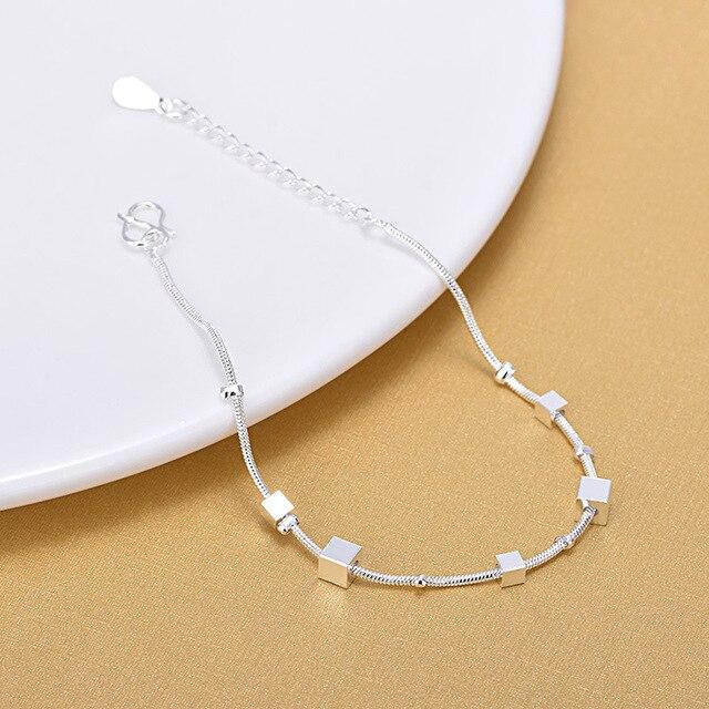 Высокое качество 925 стерлингового серебра кубическая Цепочка