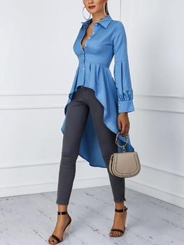 цена на 2020 Women Fashion Office Elegant Workwear Casual Shirt Ladies Top Lantern Sleeve Button Design Dip Hem Blouse