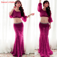 Women Belly Dance Suit 2018 New Lace Half Sleeves tops+Fishtail Skirt 2Pcs Set For Lady's Belly Dance Stage Performance Costumes