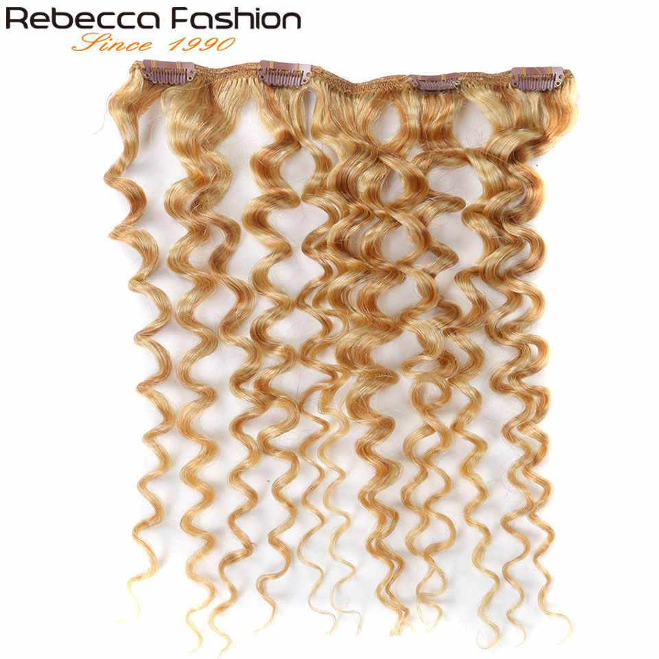 Rebecca klips do włosów 7 sztuk w doczepy z ludzkich włosów peruwiański ludzki włos Jerry Curl blond # P27/613 pełne głowy 7 sztuk/zestaw Remy włosy