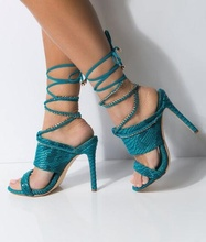 Sexy Blue Snake Print Leather Sandals Zipper Cross Tied Women Cut-out Peep Toe Gladiator Shoes Big Size