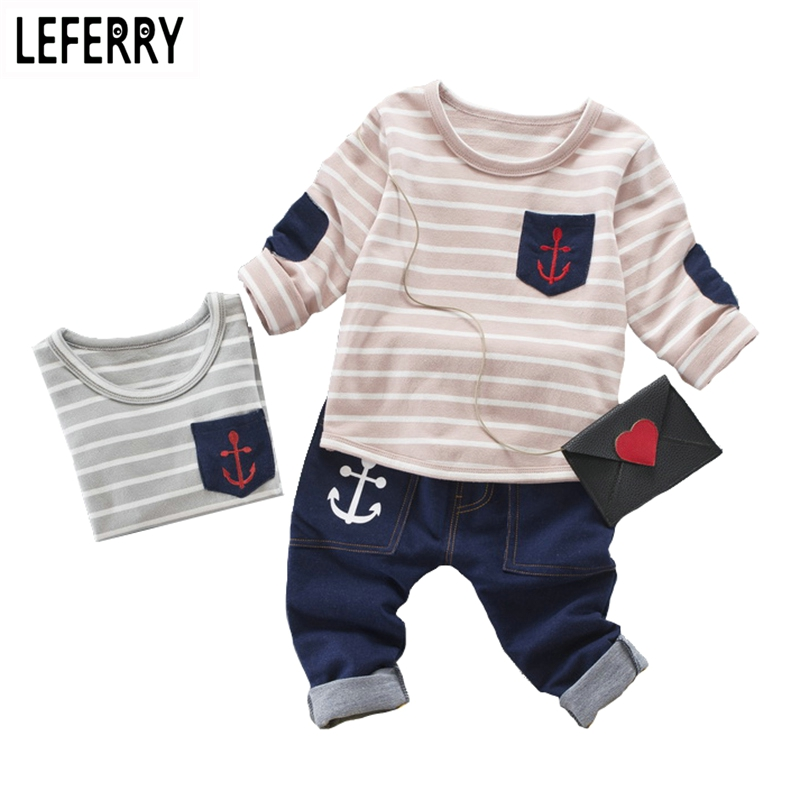 2017 New Korean Kids Clothes Boys Clothing Set Fashion Children Boys Clothes Spring Autumn Child Set Striped T-shirt + Jeans 2016 new children s clothing boys long sleeved t shirt large child bottoming shirt spring striped shirt tide