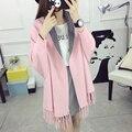 Двойной цвет бахромой шали плащ утолщенной кардиган 9a11c Корейских женщин длинный свитер свитер пальто