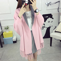 Double color fringed cloak shawls thickened cardigan 9a11c Korean women long sweater sweater coat