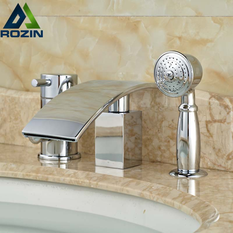 все цены на Deck Mount Single Handle Waterfall Spout Bath Tub Mixer Faucet with Handheld Shower 3pcs Chrome Finish