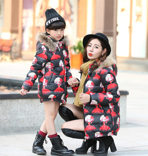 Fashion Print Mother And Daughter Matching Clothes Cotton Winter Family Matching Outfits 2016 Outerwear Clothes For Girls Ladies