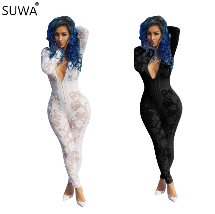 New popular v neck sexy jumpsuit women full length lace jumpsuit black white elegant overalls for women K8346 ...