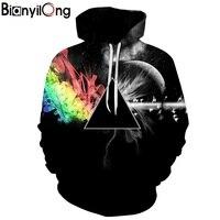 BIANYILONG Brand Sweatshirts Men Women 3d Sweatshirts Print Sunlight Refraction Rainbow Hooded Hoodies Pullover Tops Hoody