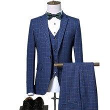 Блейзеры брюки жилет наборы/2019 Весна Осень Новые модные костюмы/мужские повседневные деловые клетчатые 3 шт. костюм куртка пальто брюки