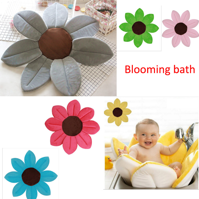 Baby Shower Blooming Flower Newborn Bathtub Foldable Lotus Shape Cushion Skin Bath Pad Portable Bath Tub Soft Seat Play Mat 80cm