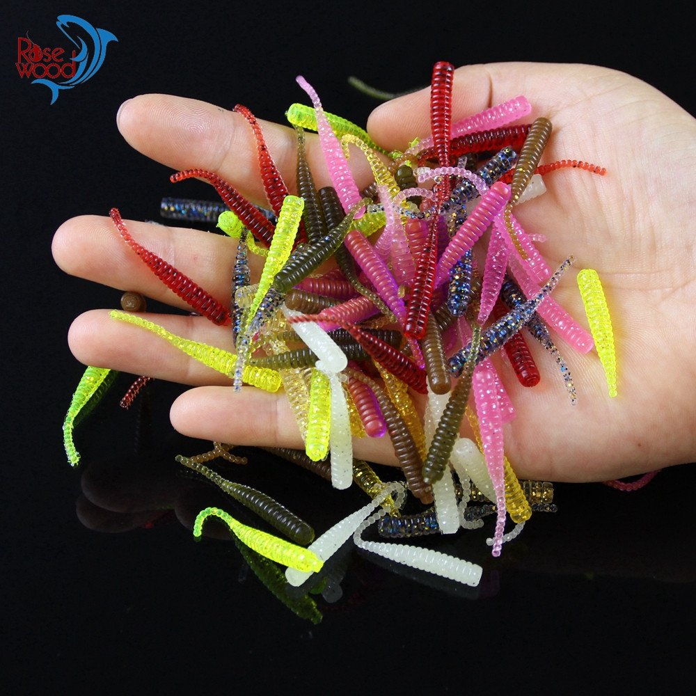 200PCS 4cm0.3g Bass Fishing Worms 10 Colors Silicone Soft Plastic Fishing Lures Artificial Bait Rubber in Jig Head Hook Use (44)