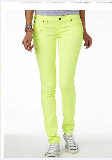 neon yellow green skinny jeans pencil pants women's high ...