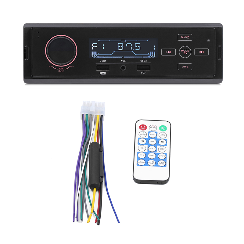 12V LCD Screen Car Auto Muiltimedia MP3 Player Bluetooth AUX Audio Vintage Car Radio MP3 Player Stereo Dual USB Phone Charger