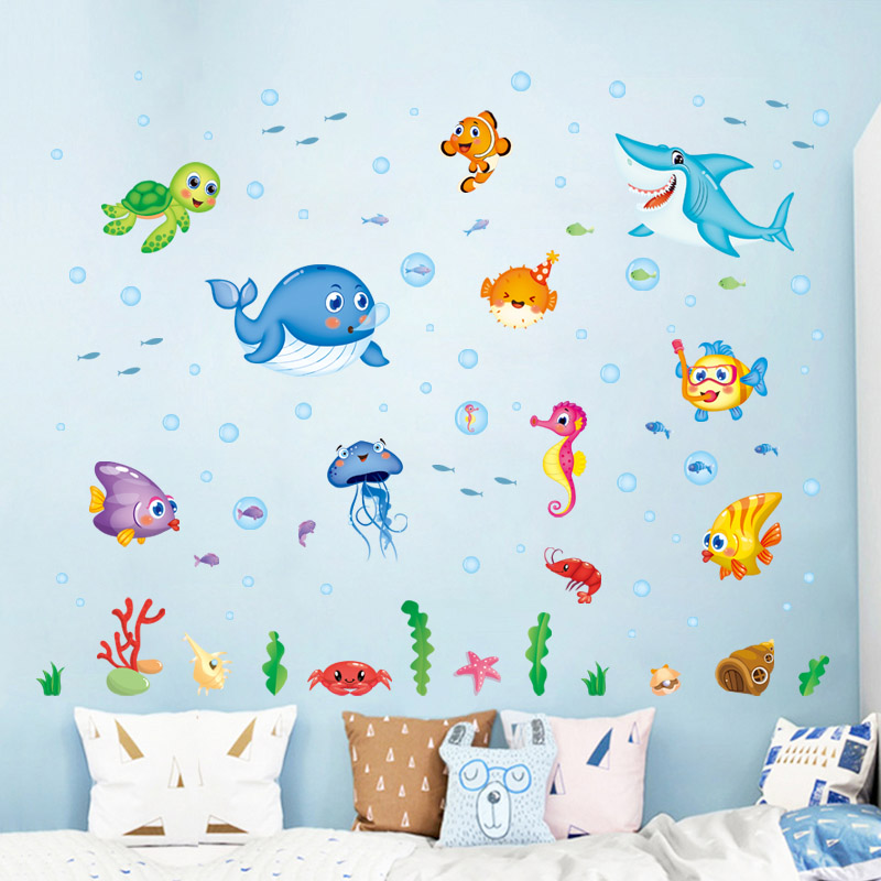[Fundecor] cartoon happy fish sea world wall stickers for kids rooms bedroom kitchen bathroom home decor wall decal mural poster