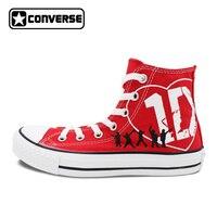 Donna Uomo Rosso Converse All Star 1D One Direction Disegno Dipinto A Mano Scarpe High Top Donna Uomo Sneakers Fidanzato Fidanzata