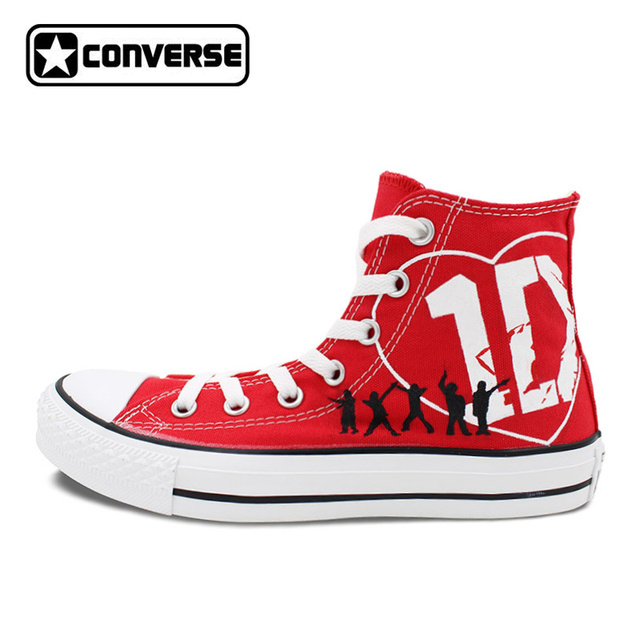 Women Men Red Converse All Star 1D One Direction Design Hand Painted Shoes  High Top Woman