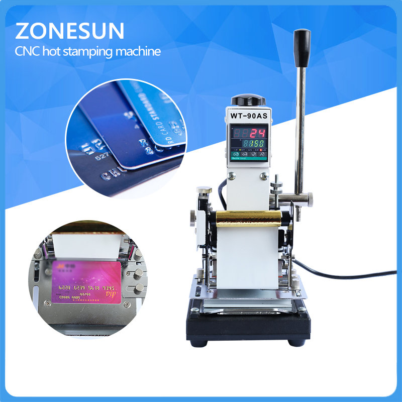 ZONESUN  Best Quality 220V/110V Manual Hot Foil Stamping Machine Card Tipper Embossing Machine For ID PVC Cards