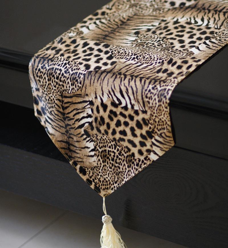 BRONZE GOLD LEOPARD PRINT SOFT VELVET TASSELS DECO WEDDING TABLE RUNNER CLOTH