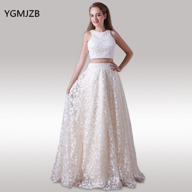 14b32f747 الدانتيل فساتين السهرة 2018 خط س الرقبة مطرز قطعتين فستان طويل مساء ثوب  الحفلة المفتوحة عودة