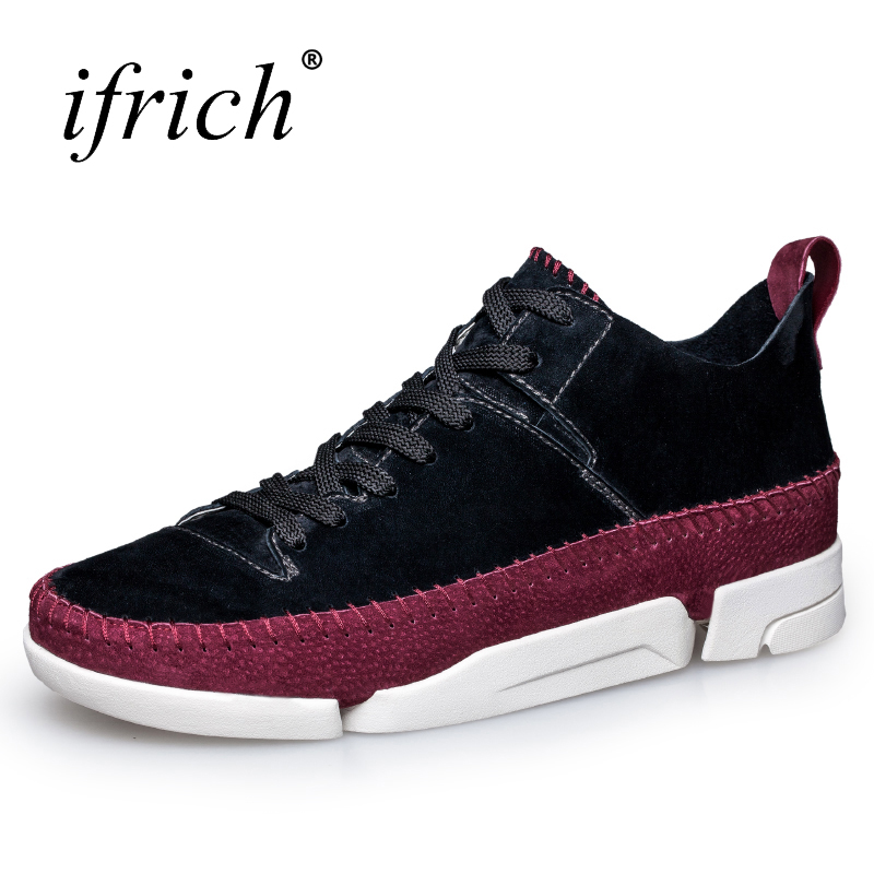 Ifrich New Leather Mens Casual Shoes Hot Sale Comfortable Mens Shoes Fashion Leather Sneakers Lace Up Black Man Flat Footwear new hot sale children shoes pu leather comfortable breathable running shoes kids led luminous sneakers girls white black pink