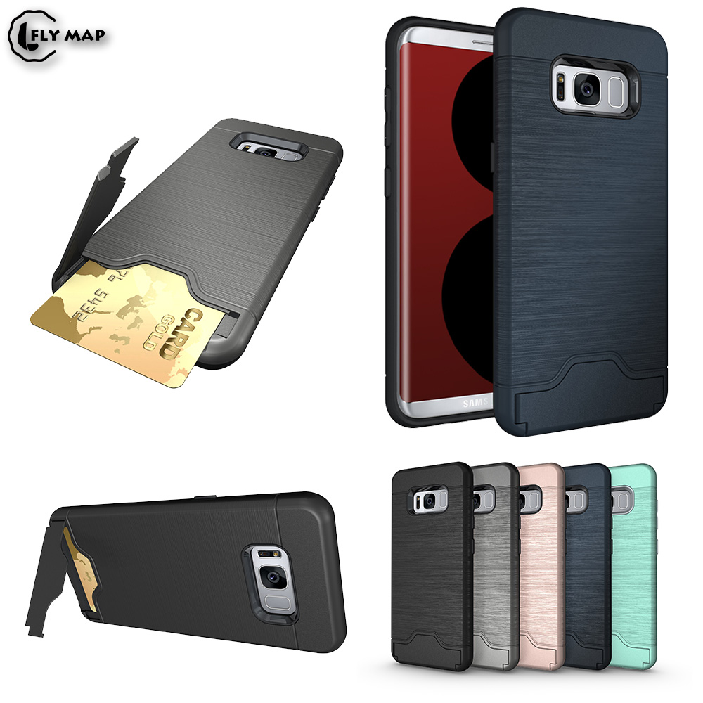 Bracket Card Slot Case Bag for Samsung Galaxy S8 S 8 8S Armor Credit Card Phone Back Cover G950F G950FD SM-G950F SM-G950FD Capa