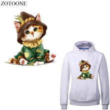 ZOTOONE Iron on Cute Cat Patches for Kids Clothes T-shirt DIY Heat Transfer Vinyl Animals Stickers Applique Press Appliqued