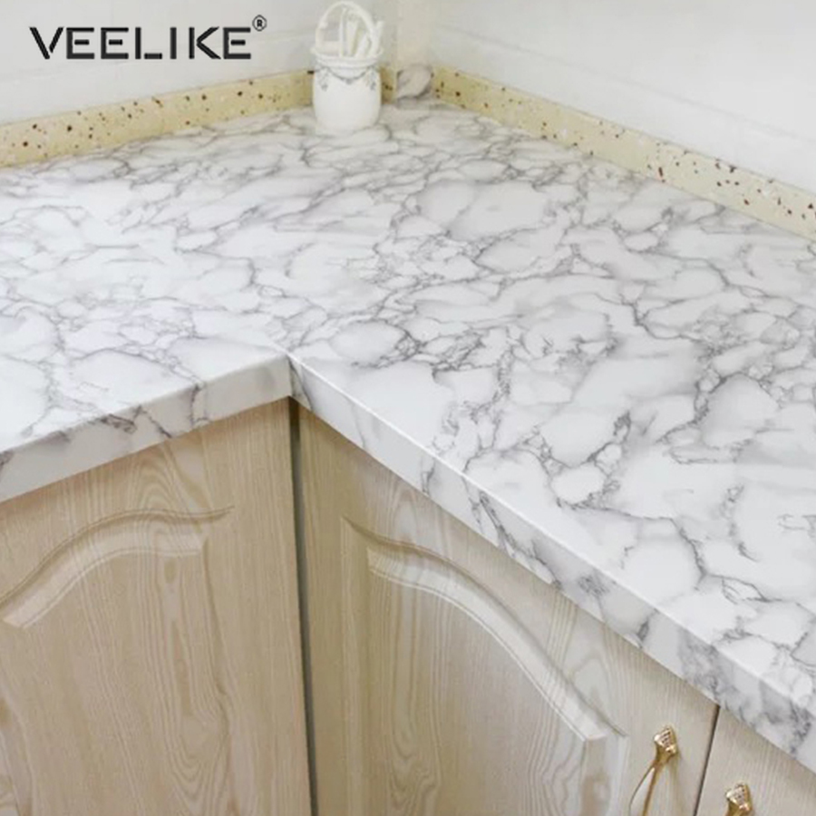 PVC Marble Waterproof Contact Paper Vinyl Self Adhesive Wallpaper Decorative Film Kitchen Cabinets Countertop Furniture Stickers 5