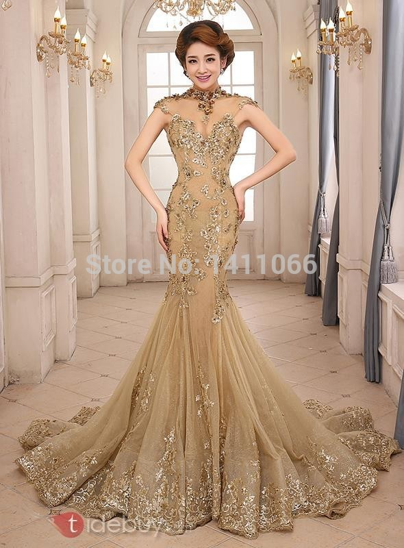 Gold Mermaid Wedding Dresses