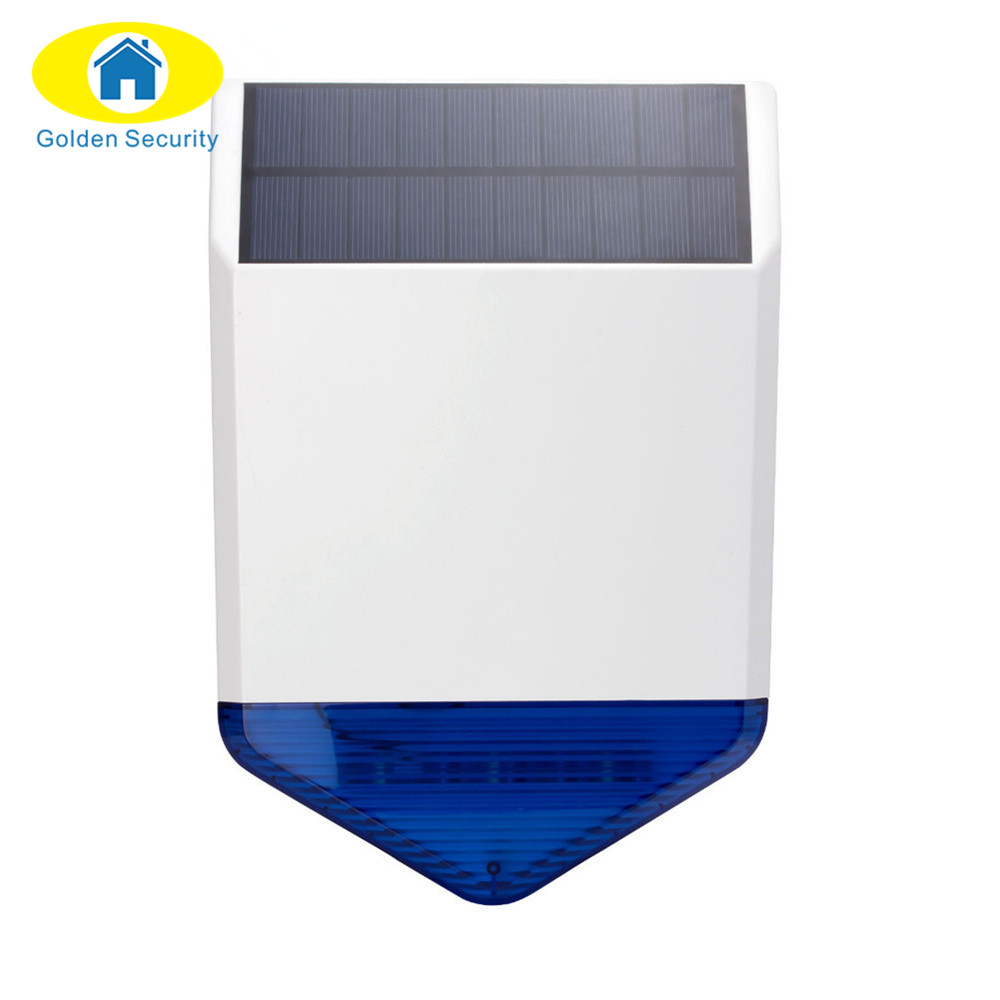 Golden Security Wireless Outdoor Solar siren For G19 G18 Alarm SystemS security Home with flashing response loudly sound high quality solar spot alarm system kit 433mhz wireless outdoor siren with bright flash to make powerful warning