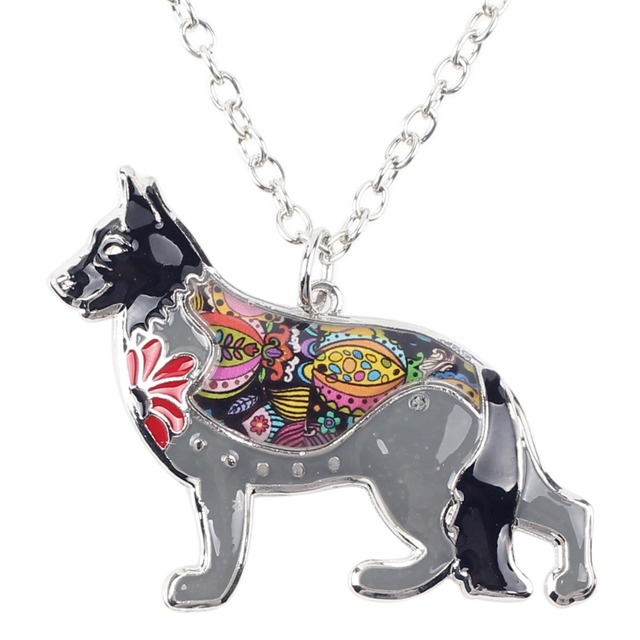German Shepherd Enamel Dog Choker Necklace