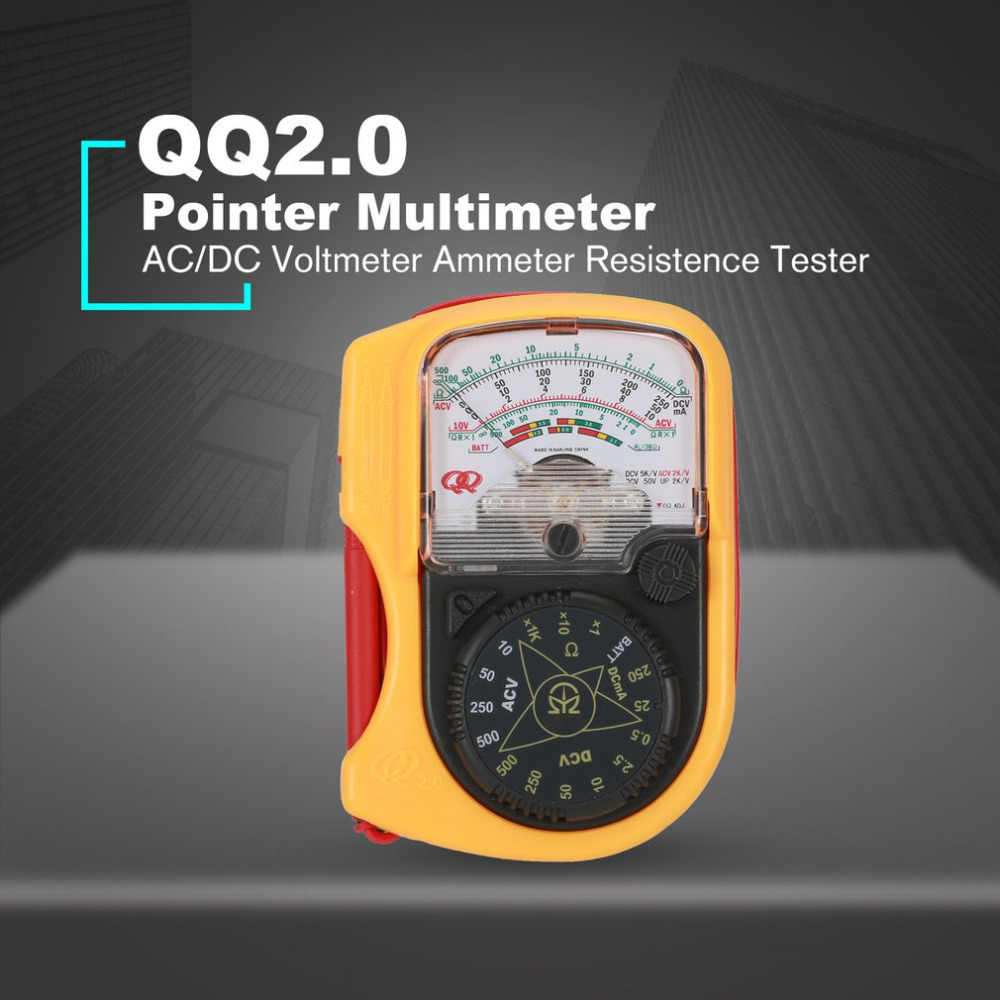 QQ2.0 Hand-hold Pocket Pointer Analog Multimeter AC/DC Voltmeter Mechanical Ammeter Current Voltage Resistence Tester Meter