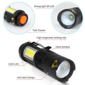 Image 2 - 3800LM XML Q5 + COBแบบพกพาBright Bright LED Handheld LEDไฟฉายปรับโฟกัสซูมMINIไฟฉายใช้แบตเตอรี่AA 14500