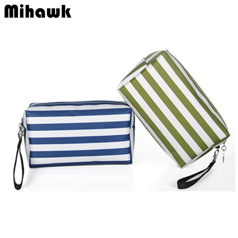 Women's Fashion Striped Cosmetic Bag Makeup Wash Case Pouch Travel Organizer Beautician Necessaire Toiletry Accessories Supply