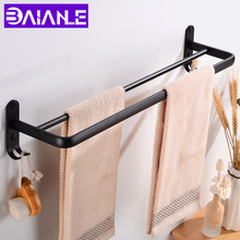 цена на Towel Bar Holder with Hook Wall Mounted Bathroom Towel Rack Hanging Holder Black Aluminum Clothes Robe Towel Holder Corner Shelf