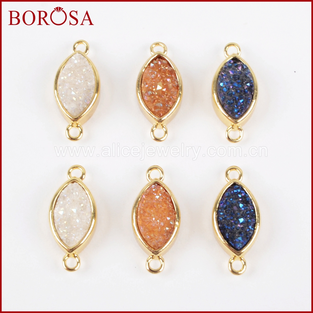 BOROSA 10PCS New Connector Charms Gold Color Bezel Marquise Rainbow Titanium Druzy Connector for DIY Jewelry Findings ZG0156