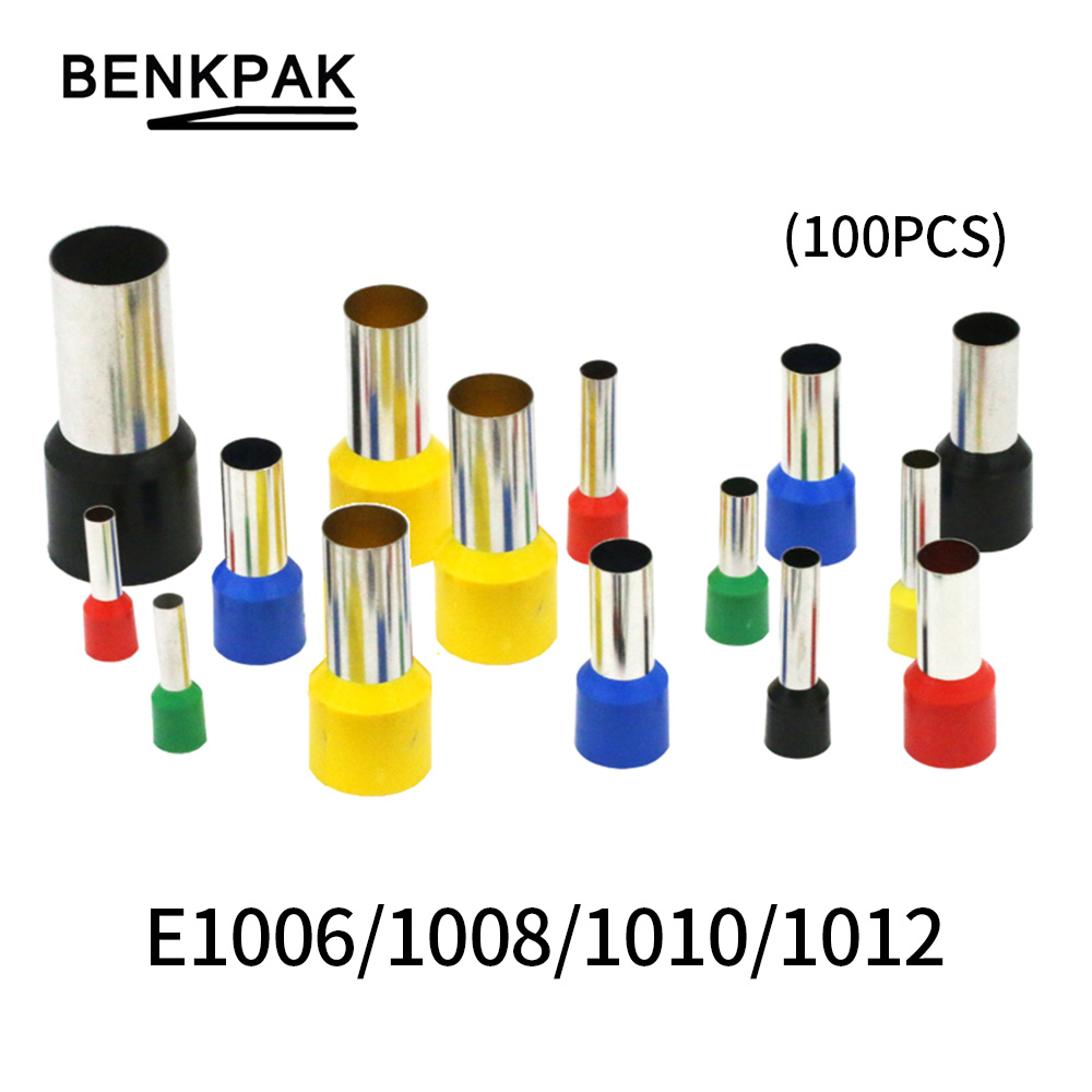 100PCS/lot E1006 <font><b>E1008</b></font> E1010 E1012 Insulated Ferrules Terminal 1.0MM2 Cable WireConnector Insulating Crimp Terminal Connect image