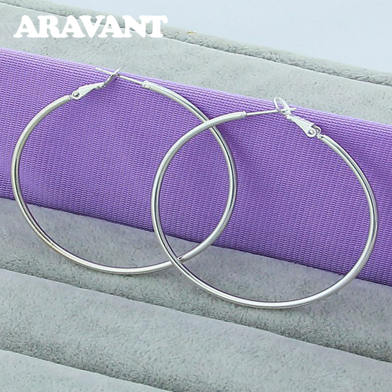 925 Silver Creole Circle Hoop Earrings For Women Christmas Earring Jewelry 2