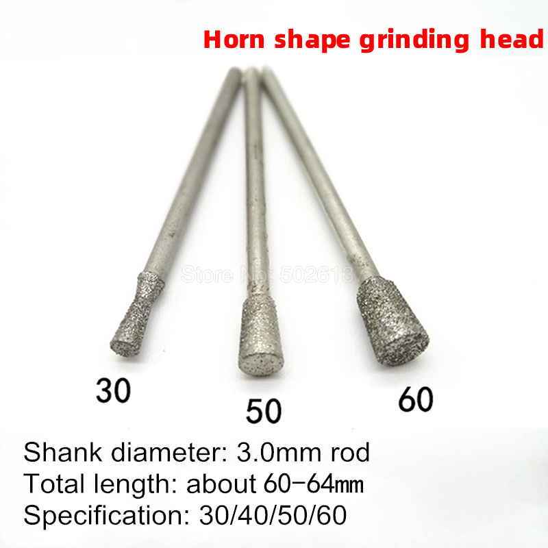 1Pcs 3MM Shank Horn Shape Diamond Grinding Burr Needle Point Engraving Carving Polishing Glass Jade Stone Head Wood Power Tool