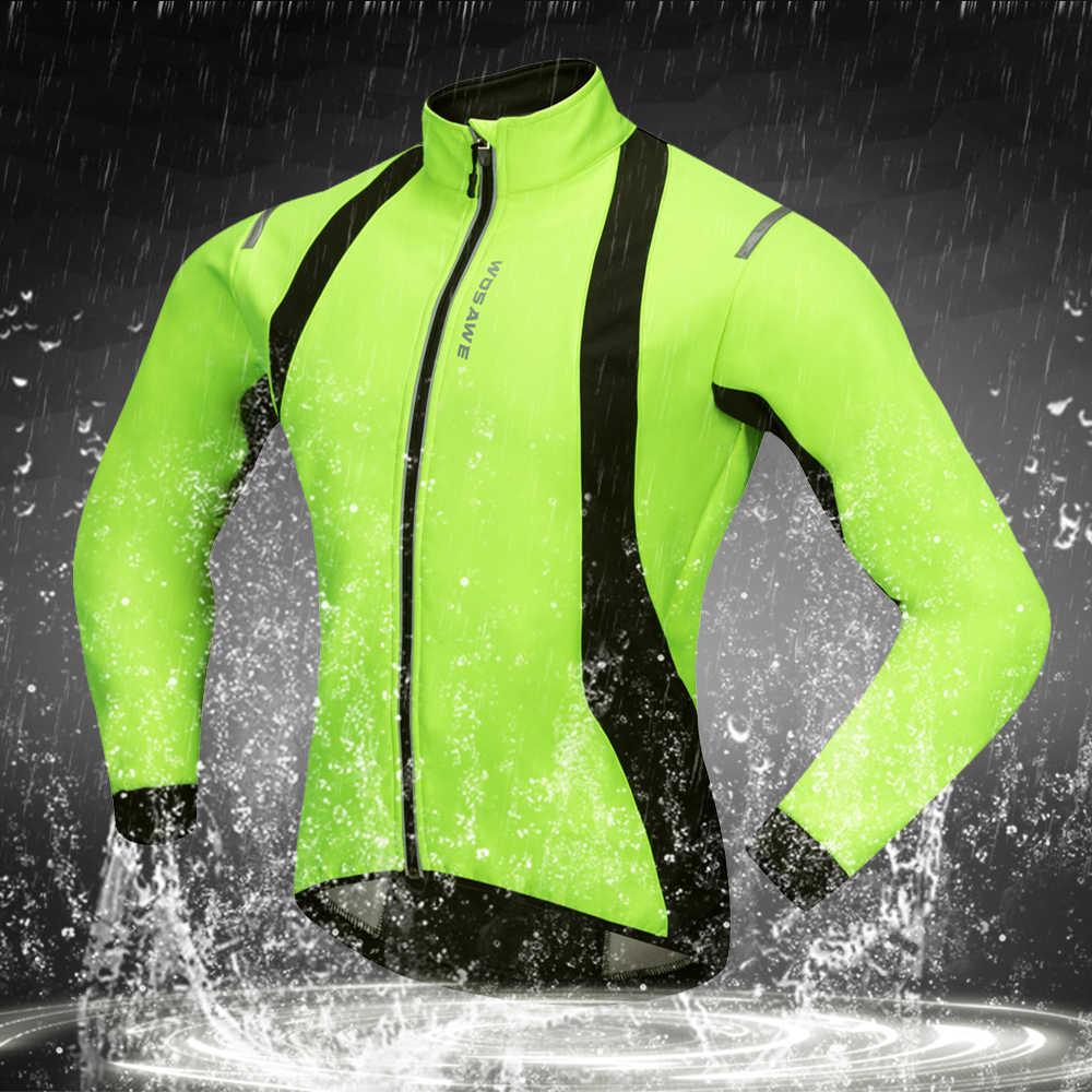 WOSAWE 熱フリースの冬ジャケット男性サイクル防風 Ropa Ciclismo コート MTB 反射バイクウインドブレーカー