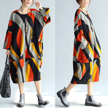 Hot sale Trendy bohemian Style Ethnic Cotton linen dress , Fashion spring summer Women Cotton dress plus size   sp528
